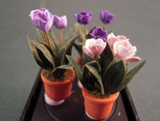 "Artistic Florals Hand Crafted 1/2"" Scale Set Of Three Potted Lavender Tulips"