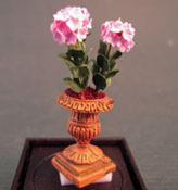 "Artistic Florals Hand Crafted 1/2"" Scale Pink Hydrangea In A Fancy Urn"