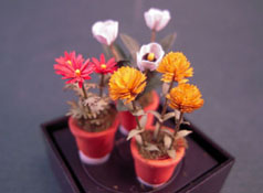 Artistic Florals Hand Crafted 1/2&quot; Scale Set Of Three Potted Mixed Flowers