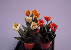"Artistic Florals Hand Crafted 1/2"" Scale Set Of Three Potted Colorful Tulips"