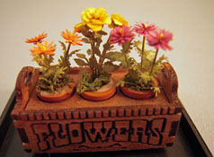 Artistic Florals Hand Crafted 1/2&quot; Scale Flower In A Wooden Planter