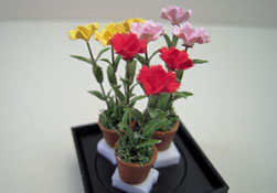 "Artistic Florals Hand Crafted 1/2"" Scale Set Of Three Potted Colorful Carnations"