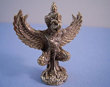 "Artistic Florals 1"" Scale Bronze Bird Statue From India"