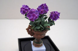 "Artistic Florals Hand Crafted 1/2"" Scale Purple Hydrangea In A Fancy Urn"
