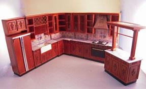 "1"" Scale Bespaq Walnut Bluette Provencial Kitchen Set"