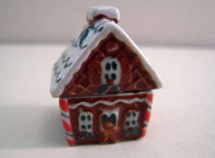 "1"" Scale Bright deLights Gingerbread House Porcelain Cookie Jar"