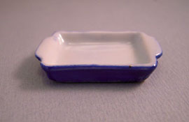 "1"" Scale Bright deLights Blue Ceramic Baking Pan"
