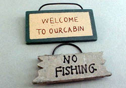 "1"" Scale Miniature Welcome To Our Cabin Wooden Sign"