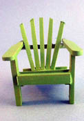 "1"" Scale Miniature Green Wooden Adirondack Chair"