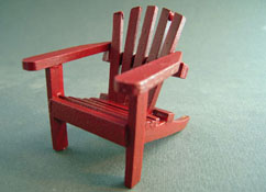"1"" Scale Miniature Coastal Red Wooden Adirondack Chair"