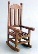 "1"" Scale Miniature Brown Wooden Porch Rocker"