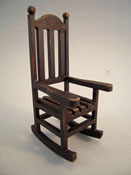 "1"" Scale Miniature Black Vintage Looking Wooden Porch Rocker"