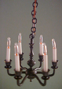 "Clare-Bell Brass 1/2"" Scale Six Arm Antique Black Chandelier"
