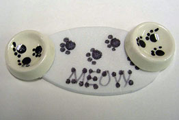 "1"" Scale Hand Crafted Meow Cat Bowls and Mat"