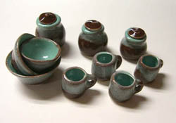 "1"" Scale Miniature By Barb Turquoise and Brown Blend Canister and Bowl Set"