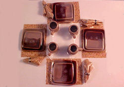 "1"" Scale Hand Crafted Brown on Brown Square Dinner Set"