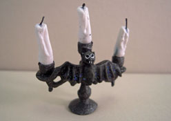 "Crickets And Caterpillars 1"" Scale Creepy Bat Candelabra With Candles"