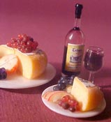 "1"" Scale Cheese, Wine and Fruit For Two"