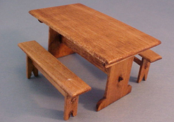 "CJ's Miniatures 1/2"" Scale Hand Crafted Picnic Table"