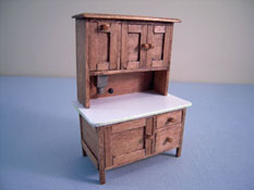 "CJ's Miniatures 1/2"" Scale Hand Crafted Hoosier Cabinet"