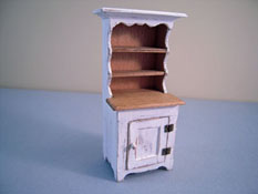 "CJ's Miniatures 1/2"" Scale Hand Crafted White Rustic Hutch"