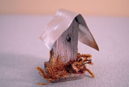 "CJ's Miniatures 1/2"" Scale Hand Crafted Bird House With A Tin Roof"