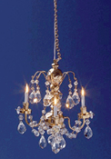 "1"" Scale Cir-Kit Renaissance Three Arm Crystal Chandelier"
