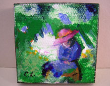 "Carol Landry Fine Art 1"" Scale Original Lady In A Pink Hat Painting"
