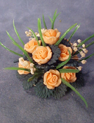 "Bright deLights 1"" Scale Apricot Rose Center Piece"