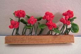 "1/2"" Scale Window Box with Red Geraniums"
