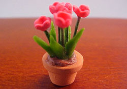 "1/2"" Scale Potted Pink Tulips"