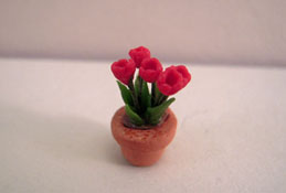"1/2"" Scale Potted Red Tulips"