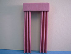 "1/2"" Scale Miniature Mauve Fabric Drapes"