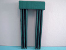 "1/2"" Scale Miniature Forest Green Fabric Drapes"
