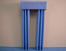 "1/2"" Scale Miniature China Blue Fabric Drapes"