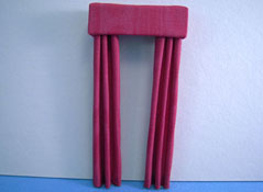 "1/2"" Scale Miniature Deep Red Fabric Drapes"