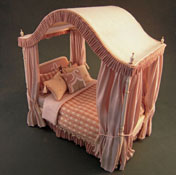 "Dollhouse Linens & More 1"" Scale Miniature Dressed Bespaq Canopy Bed"