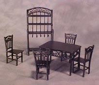 "Townsquare 1/2"" Scale Black Six Piece Dining Set"