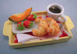1&quot; Scale Bright deLights Continental Breakfast On A Bed Tray