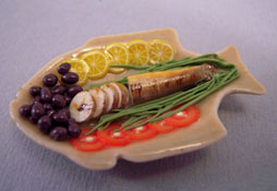 1&quot; Scale Bright deLights Sliced Fish And Garnish On A Fish Plate