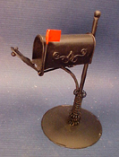 "1"" Scale Black Rural Mailbox"