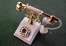 "Townsquare 1"" Scale White Classic Telephone"