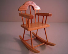 "1"" Scale Oak Nursery Child's Rocker"