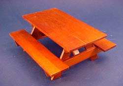 "1"" Scale Bright de Lights Oak Picnic Table with Benches"