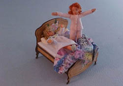 "Gayle Dolls 1/2"" Scale Dolly Bed With Dolls"