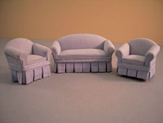 "Lee's Line 1/2"" Scale Three Piece Hanna Blue Tweed Sofa Set"