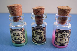 "Bright deLights 1"" Scale Set Of Three Filled Potion Jars"