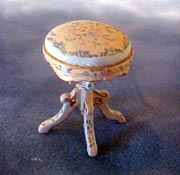 "Bespaq 1/2"" Scale Hand Painted Belmont Blue Vanity Stool, Miniature"