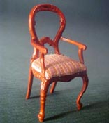 Bespaq 1/2� Scale Miniature Walnut Balloon Back Arm Chair
