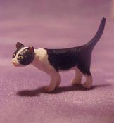 """Falcon 1/2"""" Scale Miniature Curious Black and White Cat"""